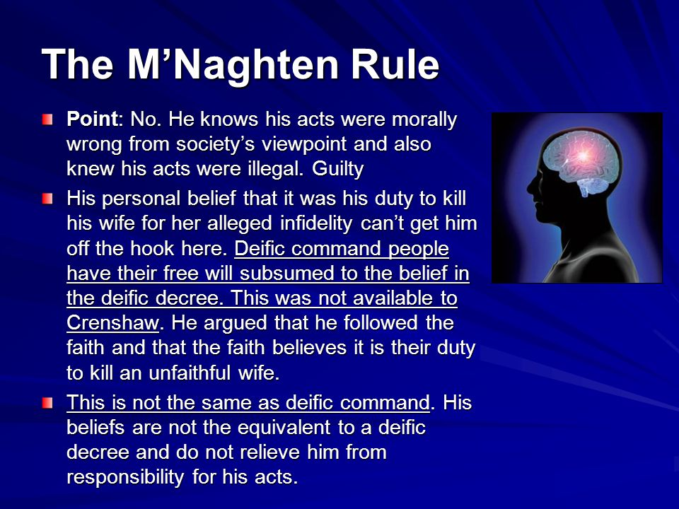 The MNaghten Rule Point: No.