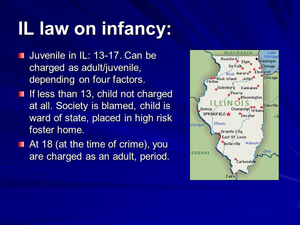 IL law on infancy: Juvenile in IL: 13-17.