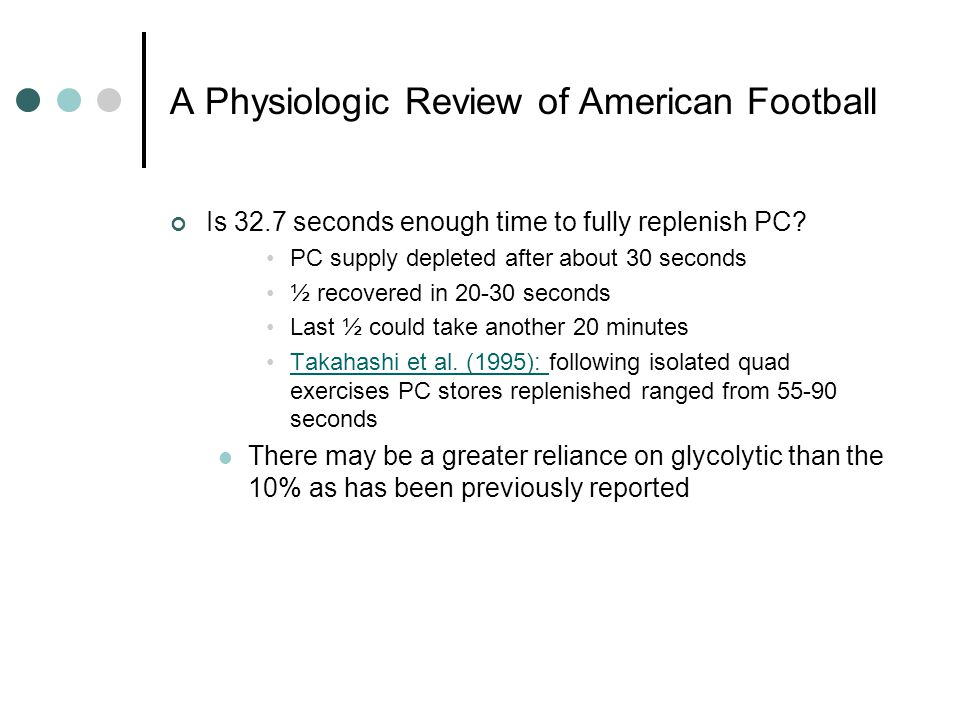A Physiologic Review of American Football Is 32.7 seconds enough time to fully replenish PC.