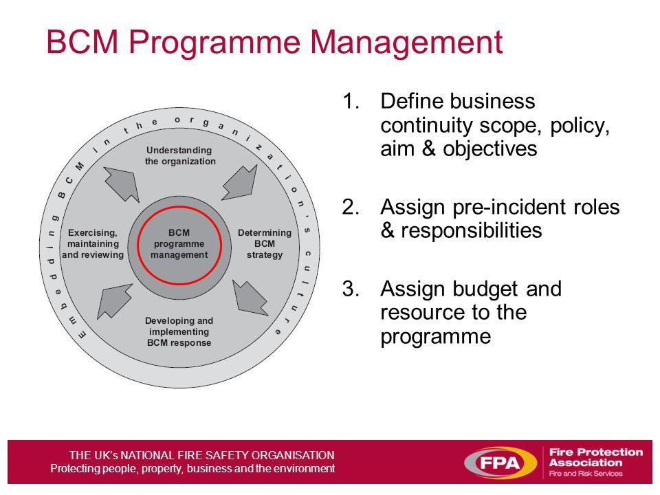 THE UKs NATIONAL FIRE SAFETY ORGANISATION Protecting people, property, business and the environment 1.Define business continuity scope, policy, aim &