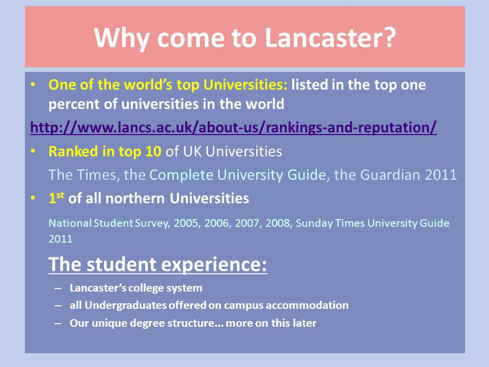 Why come to Lancaster.