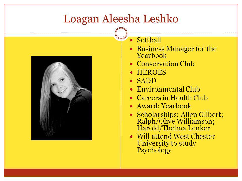 Loagan Aleesha Leshko Softball Business Manager for the Yearbook Conservation Club HEROES SADD Environmental Club Careers in Health Club Award: Yearbo