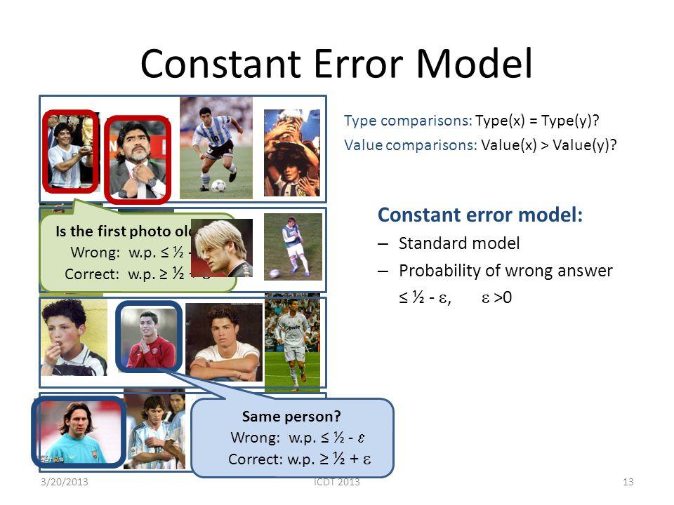 Constant Error Model Type comparisons: Type(x) = Type(y)? Value comparisons: Value(x) > Value(y)? Constant error model: – Standard model – Probability