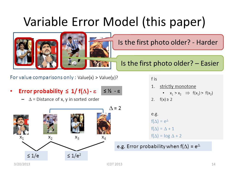Variable Error Model (this paper) For value comparisons only : Value(x) > Value(y)? Error probability 1/ f( ) - – = Distance of x, y in sorted order I