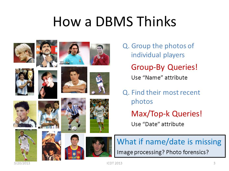 How a DBMS Thinks Q. Group the photos of individual players Group-By Queries! Use Name attribute Q. Find their most recent photos Max/Top-k Queries! U