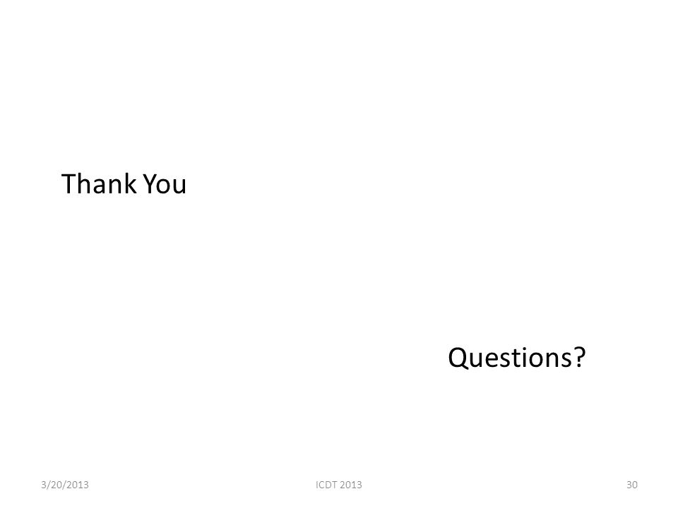Thank You Questions? 303/20/2013ICDT 2013