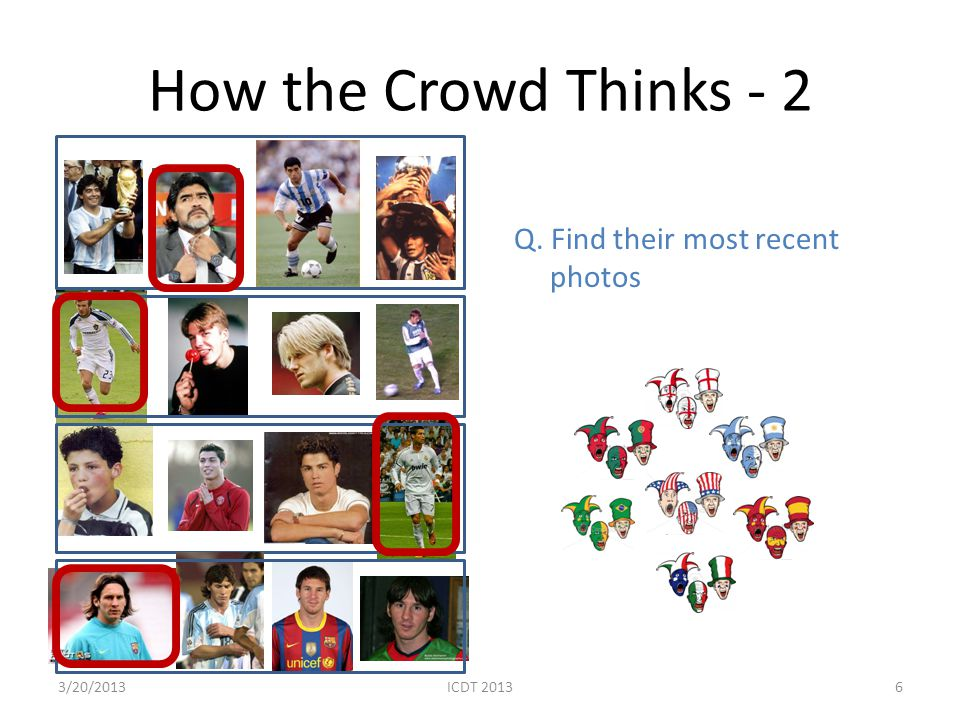 How the Crowd Thinks - 2 Q. Find their most recent photos 63/20/2013ICDT 2013
