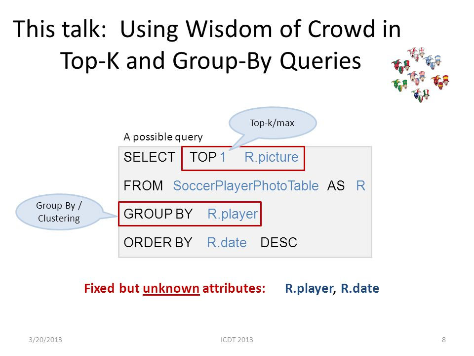 This talk: Using Wisdom of Crowd in Top-K and Group-By Queries SELECT TOP 1 R.picture FROM SoccerPlayerPhotoTable AS R GROUP BY R.player ORDER BY R.da