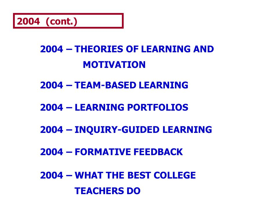 2004 (cont.) 2004 – THEORIES OF LEARNING AND MOTIVATION 2004 – TEAM-BASED LEARNING 2004 – LEARNING PORTFOLIOS 2004 – INQUIRY-GUIDED LEARNING 2004 – FO