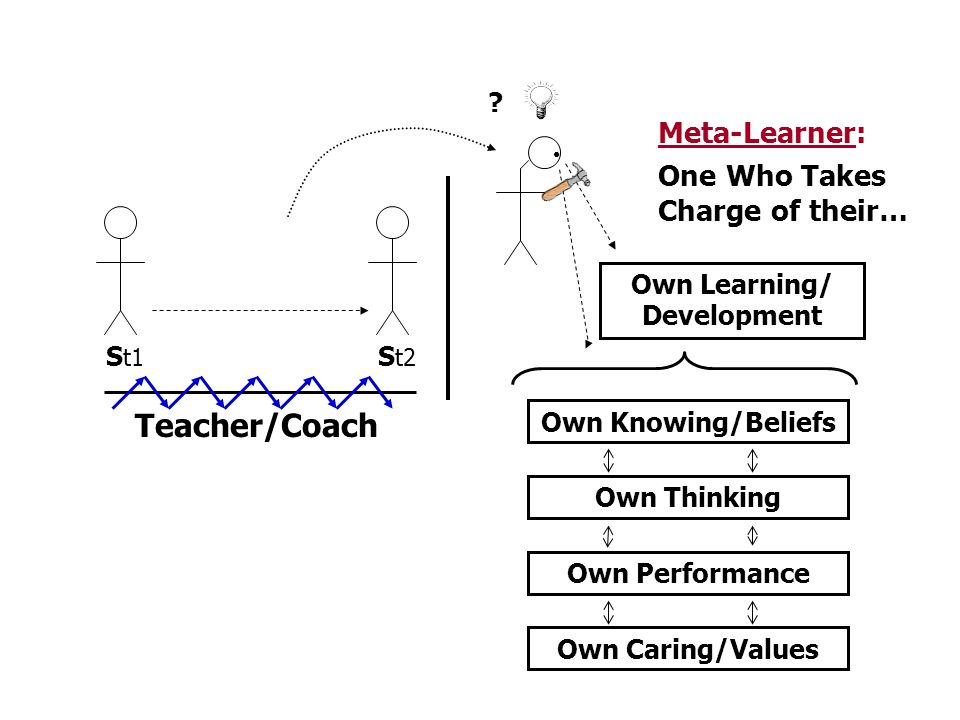 S t1 S t2 Own Learning/ Development Meta-Learner: ? Own Knowing/Beliefs Own Thinking Own Performance Own Caring/Values Teacher/Coach One Who Takes Cha