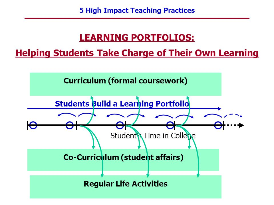 5 High Impact Teaching Practices 58 Students Build a Learning Portfolio Curriculum (formal coursework) Co-Curriculum (student affairs) LEARNING PORTFO