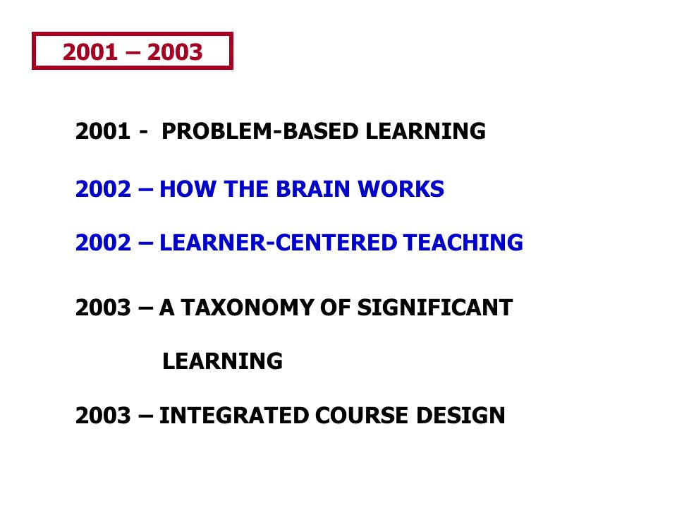 2001 – 2003 2001 - PROBLEM-BASED LEARNING 2002 – HOW THE BRAIN WORKS 2002 – LEARNER-CENTERED TEACHING 2003 – A TAXONOMY OF SIGNIFICANT LEARNING 2003 –