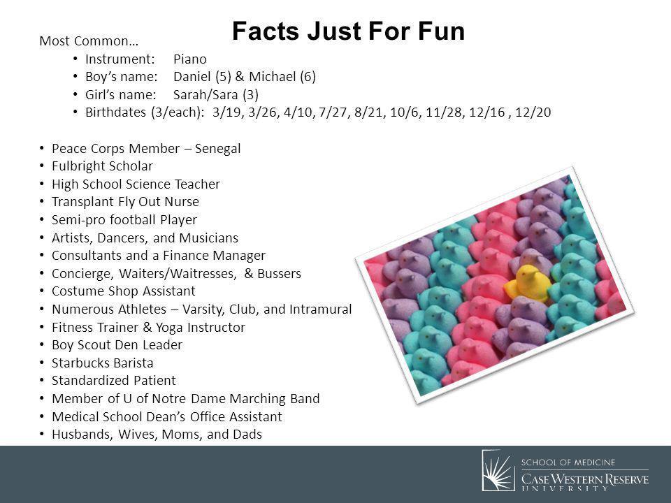 Facts Just For Fun Most Common… Instrument:Piano Boys name: Daniel (5) & Michael (6) Girls name: Sarah/Sara (3) Birthdates (3/each): 3/19, 3/26, 4/10,