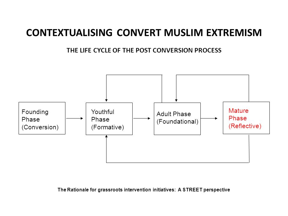 CONTEXTUALISING CONVERT MUSLIM EXTREMISM Founding Phase (Conversion) Youthful Phase (Formative) Adult Phase (Foundational) Mature Phase (Reflective) T