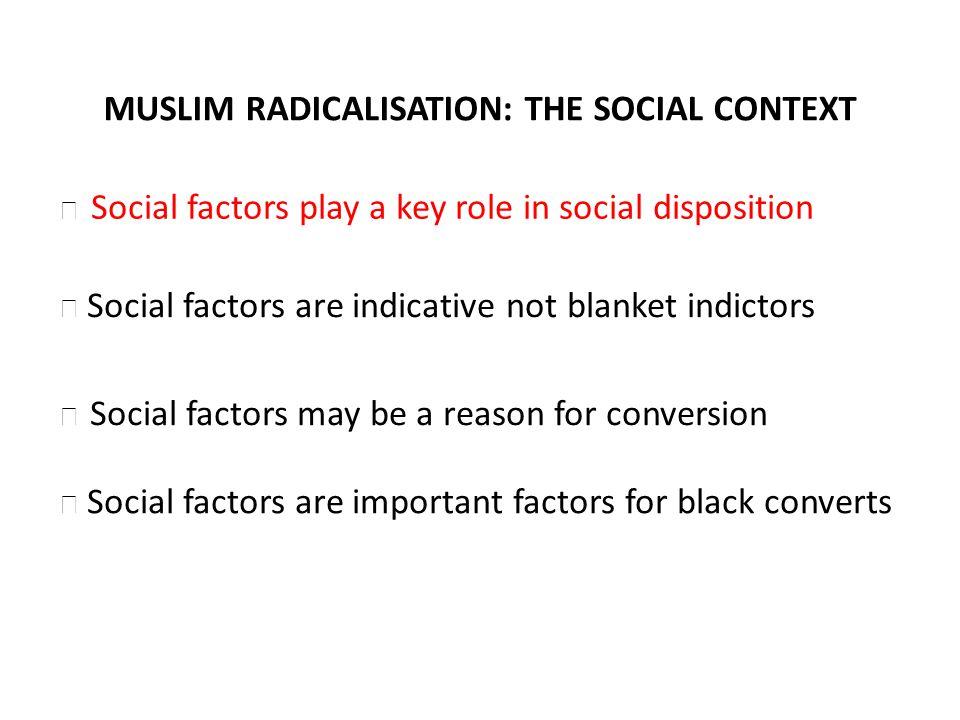 MUSLIM RADICALISATION: THE SOCIAL CONTEXT Social factors are indicative not blanket indictors Social factors may be a reason for conversion Social fac