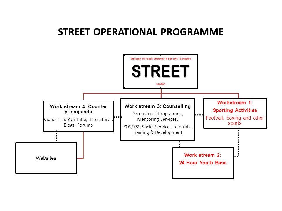 STREET OPERATIONAL PROGRAMME Work stream 4: Counter propaganda Videos, i.e. You Tube, Literature, Blogs, Forums Websites Work stream 3: Counselling De