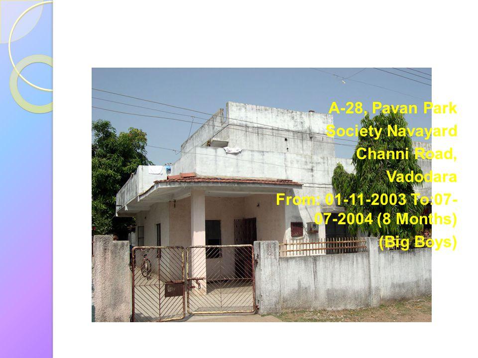A-28, Pavan Park Society Navayard Channi Road, Vadodara From: 01-11-2003 To:07- 07-2004 (8 Months) (Big Boys)
