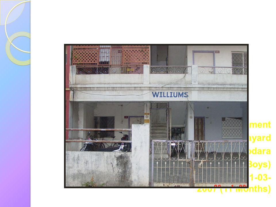 William Apartment Navayard Vadodara ( Big Boys) From: 20-04-2006 To: 01-03- 2007 (11 Months)