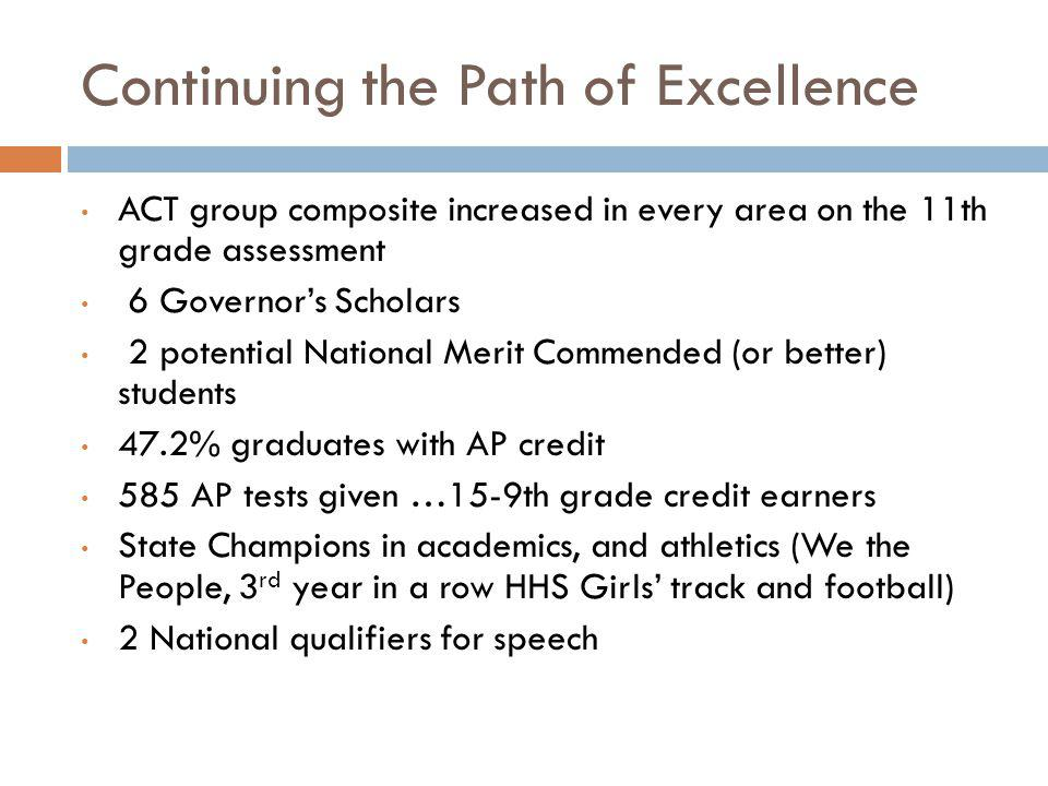Continuing the Path of Excellence ACT group composite increased in every area on the 11th grade assessment 6 Governors Scholars 2 potential National M