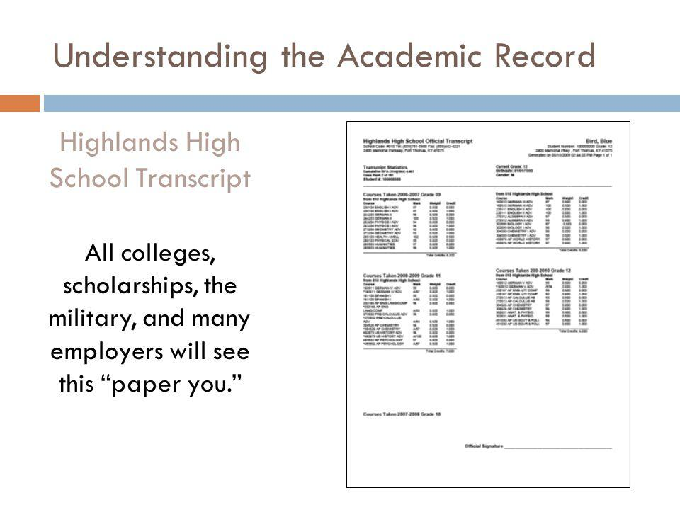 Understanding the Academic Record Highlands High School Transcript All colleges, scholarships, the military, and many employers will see this paper yo