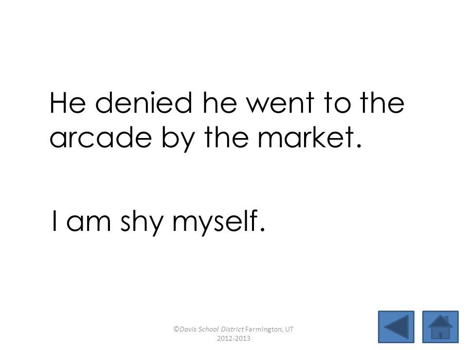 fryskylightjarpie shynessuntiedmarketallies arcademyselfdeniedarmchair He denied he went to the arcade by the market.