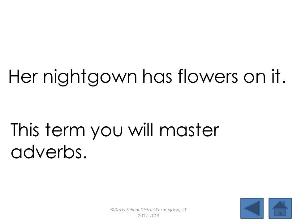 termadverbtownfear downtownclearestpackernightgown mastereardrumflowernearby Her nightgown has flowers on it.