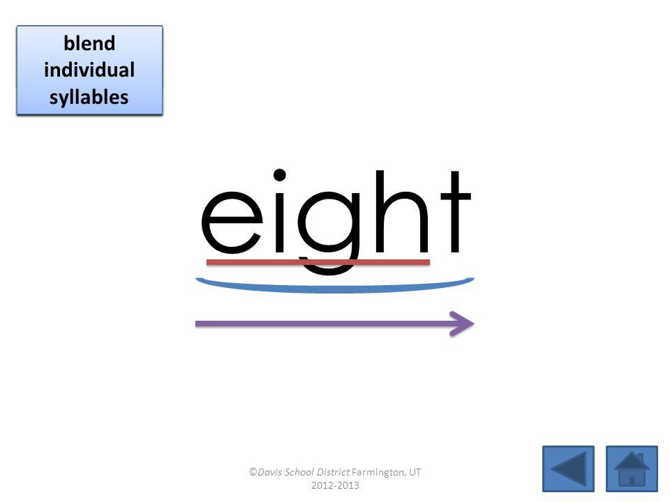lightweight blend together identify vowel patterns blend individual syllables identify vowel patterns blend individual syllables ©Davis School District Farmington, UT 2012-2013