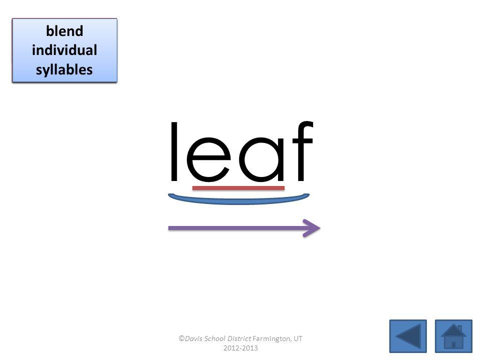 fifteen blend individual syllables blend together identify vowel patterns blend individual syllables identify vowel patterns ©Davis School District Farmington, UT 2012-2013