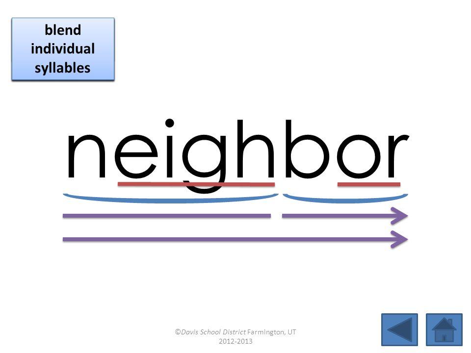 instead blend together identify vowel patterns blend individual syllables identify vowel patterns blend individual syllables ©Davis School District Farmington, UT 2012-2013