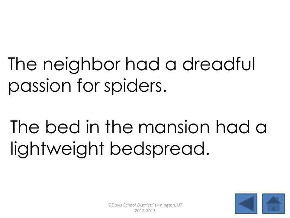 neighborinsteadpassionlightweight deadlinemansioneighteenbedspread fusionoutweighdreadfulversion The neighbor had a dreadful passion for spiders.