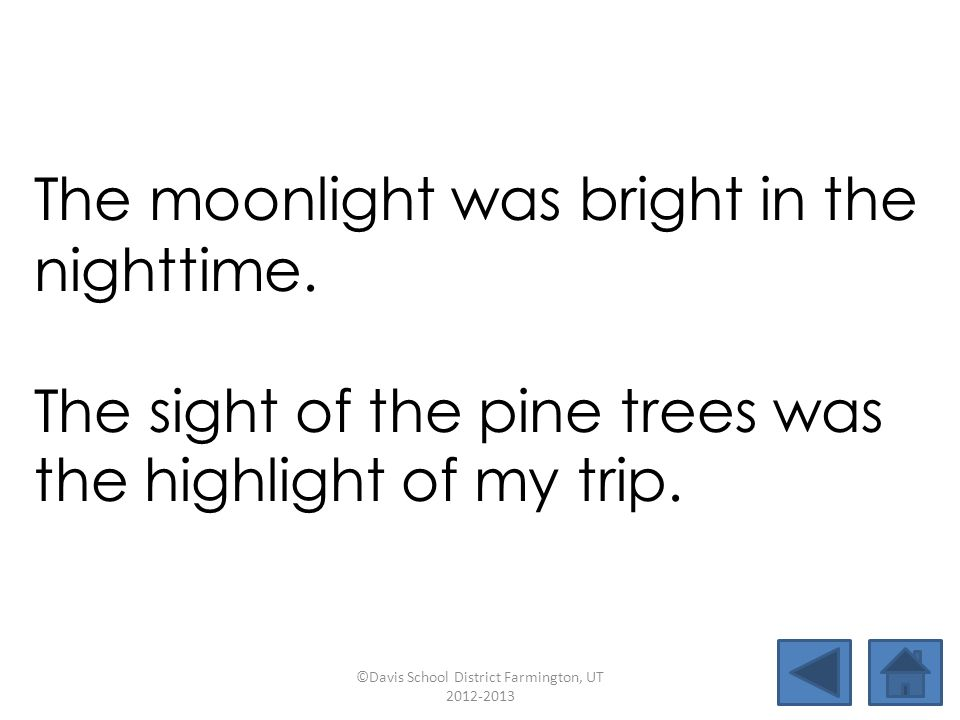 rightnightlighthighsight limelightbaselinetightropenighttime pushpinmidnightfirefighthighlight The moonlight was bright in the nighttime.
