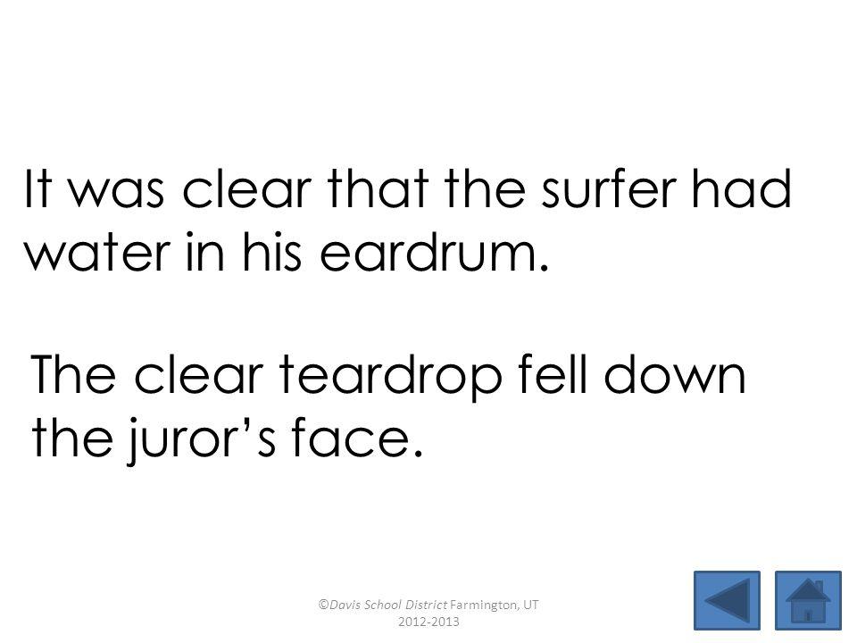 clear burgerbeardsurf eardrumreturnnursemaidfearsome gearboxjurorteardroprural It was clear that the surfer had water in his eardrum.