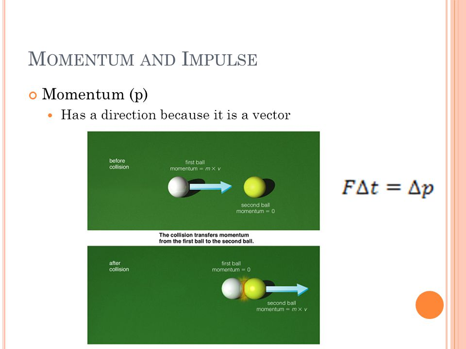 M OMENTUM AND I MPULSE Momentum (p) Has a direction because it is a vector