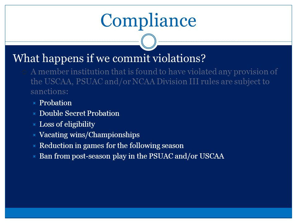 Compliance Why Compliance This department operates with integrity and seeks to be the model for other Athletic Departments. As such, we have a moral o