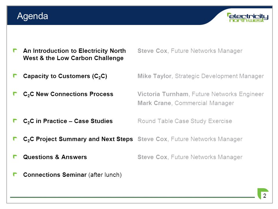 Agenda An Introduction to Electricity North West & the Low Carbon Challenge Capacity to Customers (C 2 C) C 2 C New Connections Process C 2 C in Pract