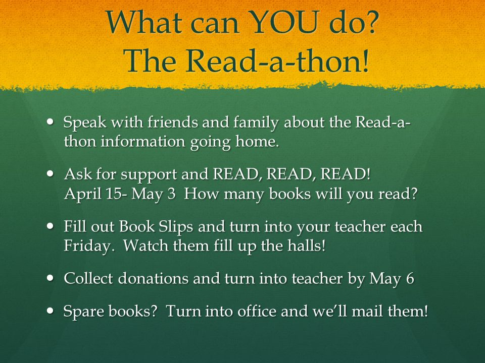 What can YOU do. The Read-a-thon.