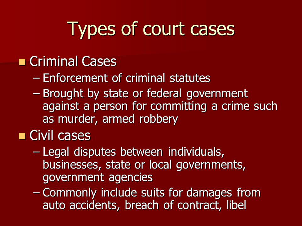Types of court cases Criminal Cases Criminal Cases –Enforcement of criminal statutes –Brought by state or federal government against a person for committing a crime such as murder, armed robbery Civil cases Civil cases –Legal disputes between individuals, businesses, state or local governments, government agencies –Commonly include suits for damages from auto accidents, breach of contract, libel