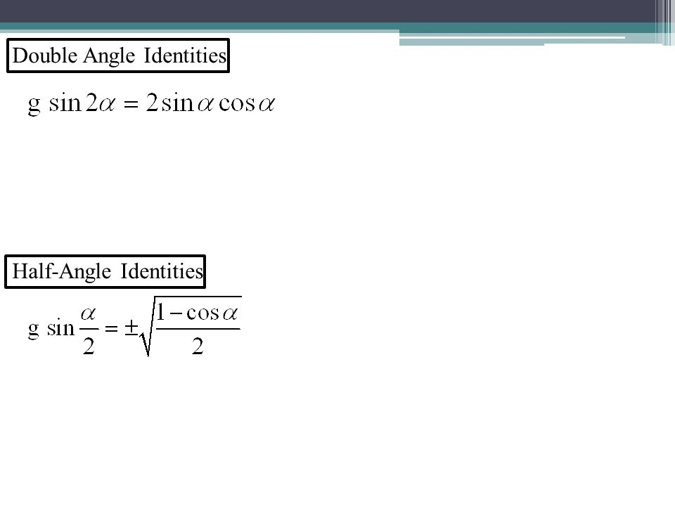 Double Angle Identities Half-Angle Identities
