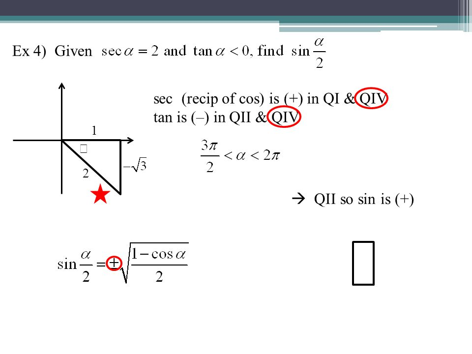 Ex 4) Given 1 2 sec (recip of cos) is (+) in QI & QIV tan is (–) in QII & QIV QII so sin is (+)