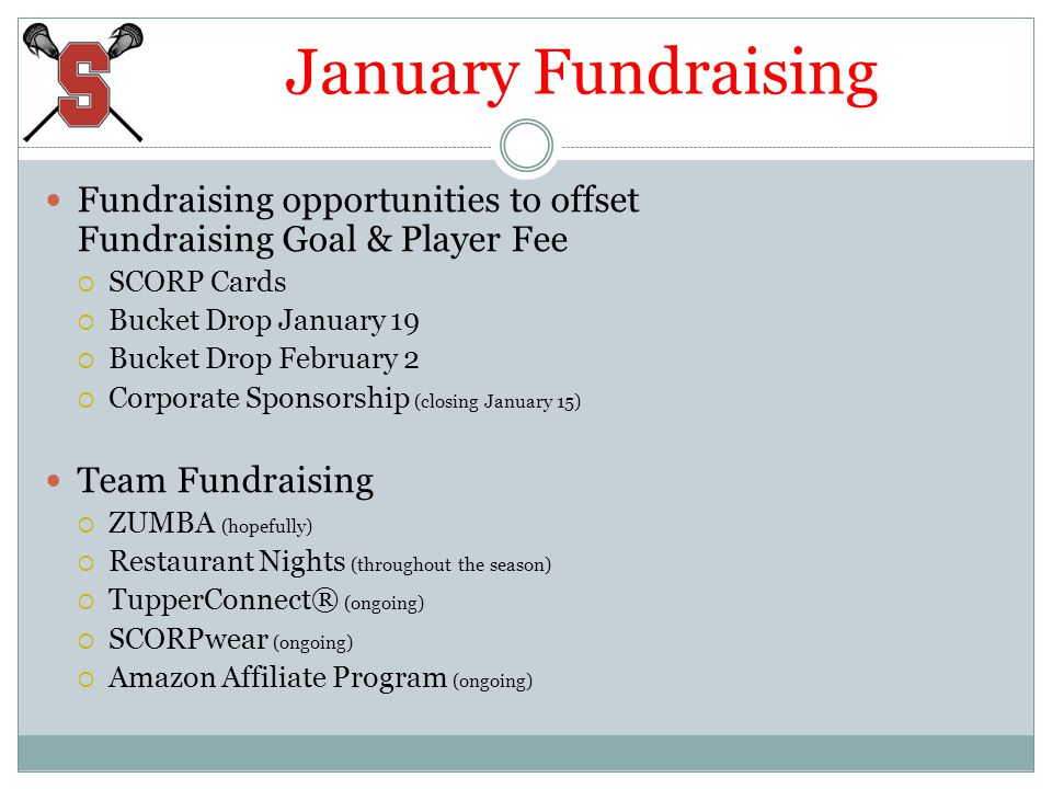 January Fundraising Fundraising opportunities to offset Fundraising Goal & Player Fee SCORP Cards Bucket Drop January 19 Bucket Drop February 2 Corpor