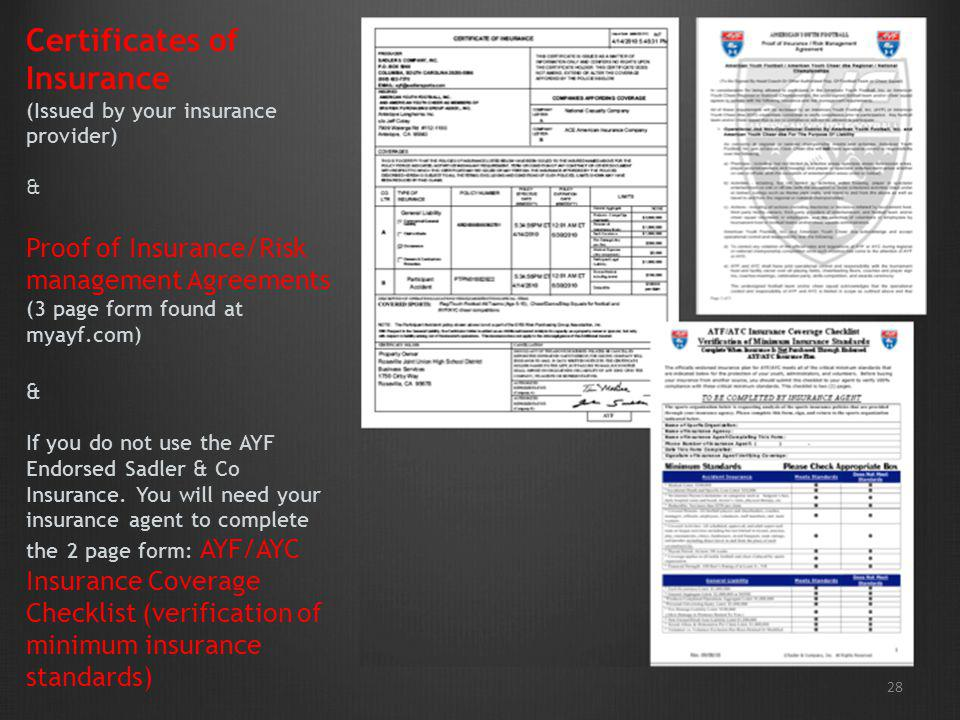 28 Certificates of Insurance (Issued by your insurance provider) & Proof of Insurance/Risk management Agreements (3 page form found at myayf.com) & If