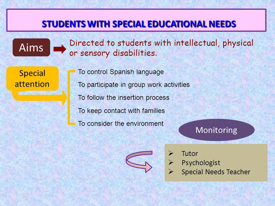 STUDENTS WITH SPECIAL EDUCATIONAL NEEDS STUDENTS WITH SPECIAL EDUCATIONAL NEEDS Aims Directed to students with intellectual, physical or sensory disabilities.