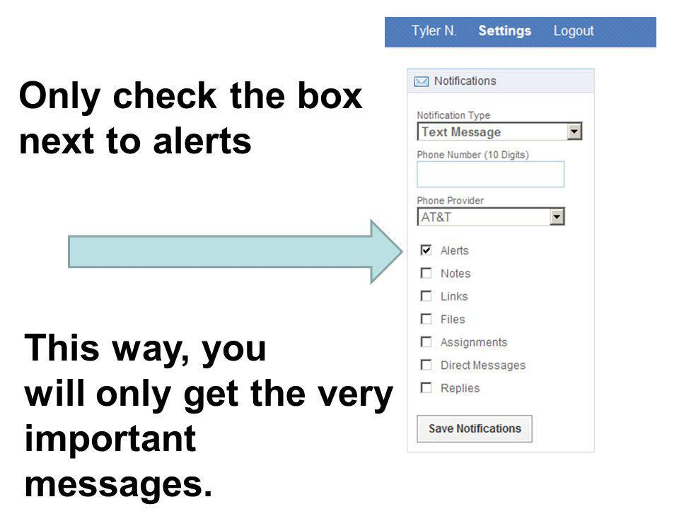 Only check the box next to alerts This way, you will only get the very important messages.