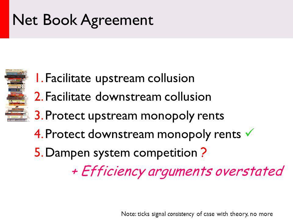 1.Facilitate upstream collusion 2.Facilitate downstream collusion 3.Protect upstream monopoly rents 4.Protect downstream monopoly rents 5.Dampen system competition .