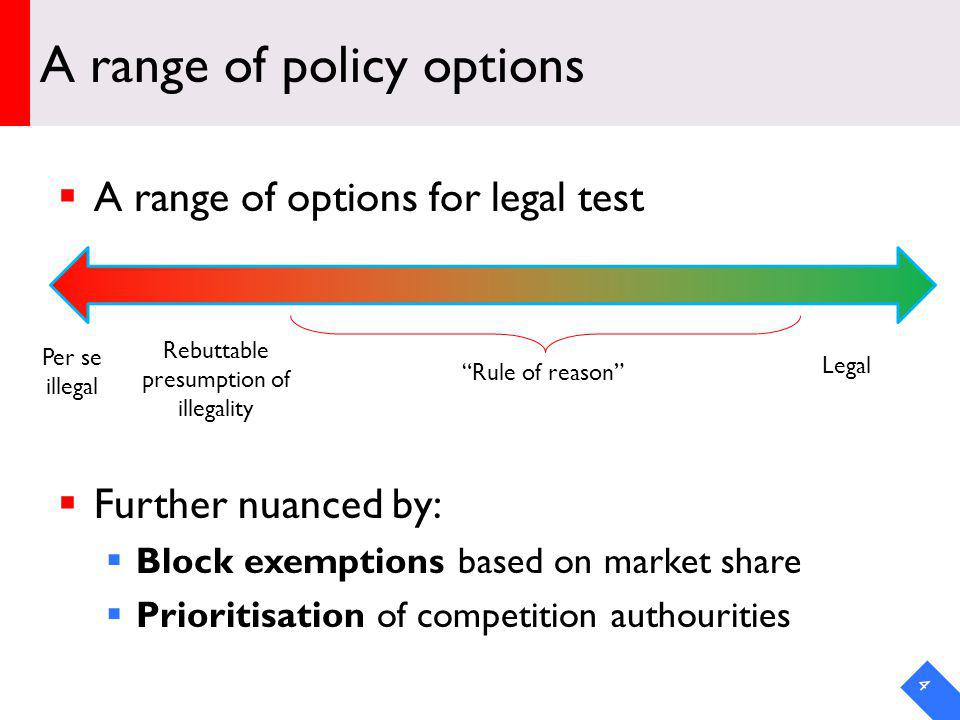 A range of policy options A range of options for legal test Further nuanced by: Block exemptions based on market share Prioritisation of competition authourities 4 Per se illegal Rebuttable presumption of illegality Legal Rule of reason