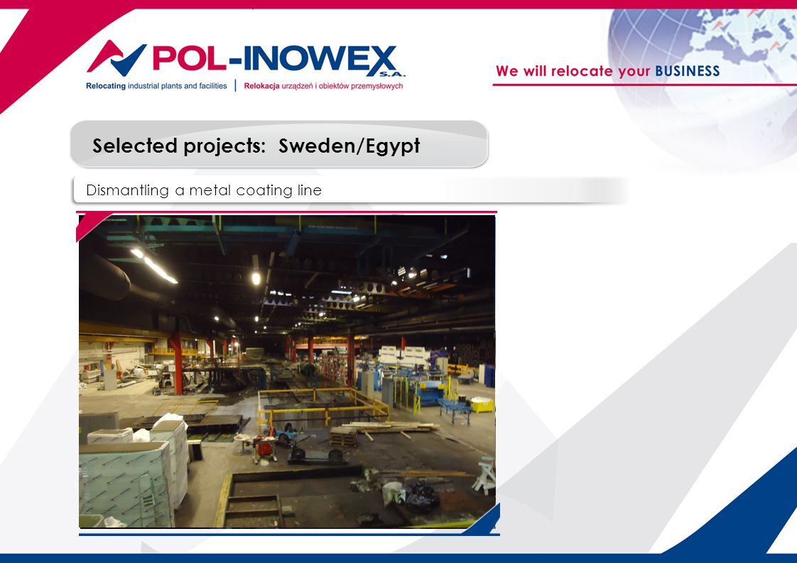 Selected projects: Dismantling a metal coating line Sweden/Egypt