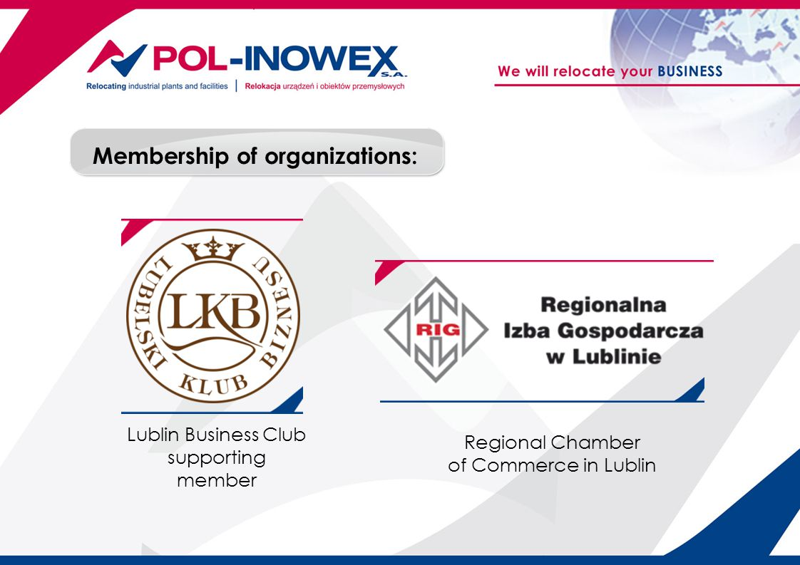 Membership of organizations: Lublin Business Club supporting member Regional Chamber of Commerce in Lublin