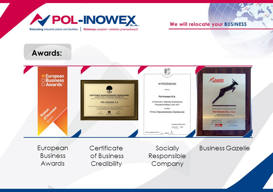 Awards: Socially Responsible Company Certificate of Business Credibility Business Gazelle European Business Awards