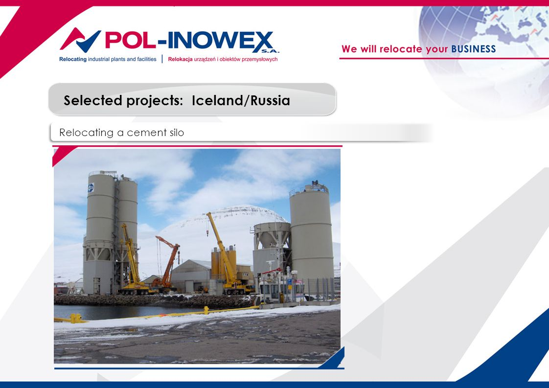 Selected projects: Relocating a cement silo Iceland/Russia
