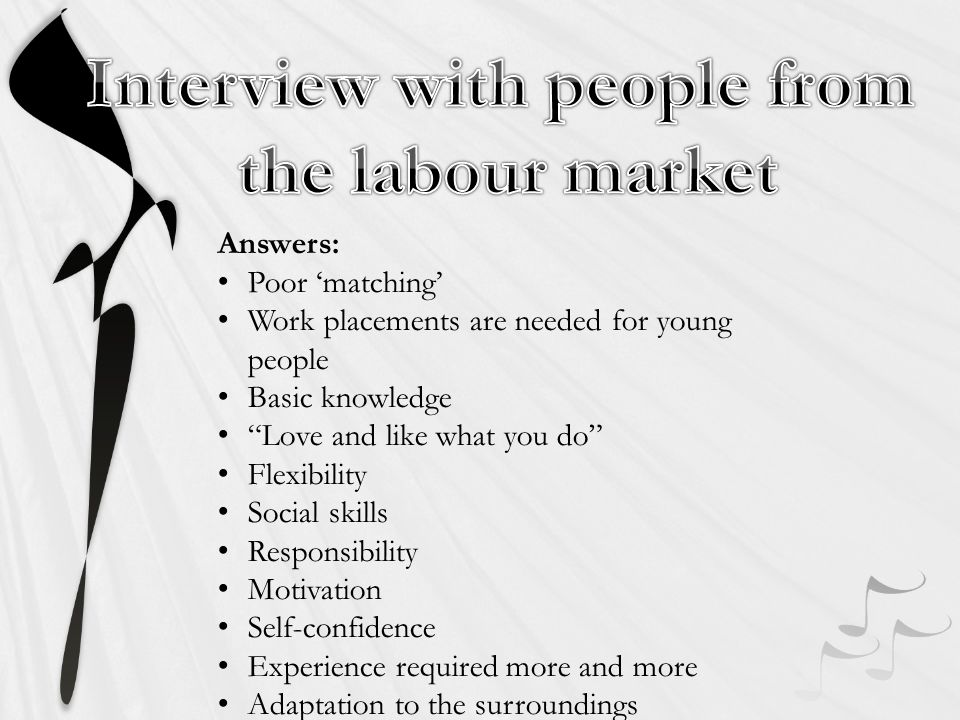 Answers: Poor matching Work placements are needed for young people Basic knowledge Love and like what you do Flexibility Social skills Responsibility Motivation Self-confidence Experience required more and more Adaptation to the surroundings